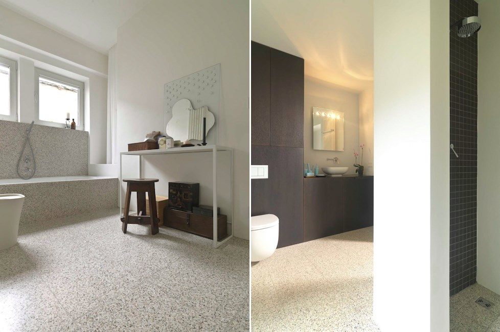 Terrazzo tile in white and beige from Artistic Tile