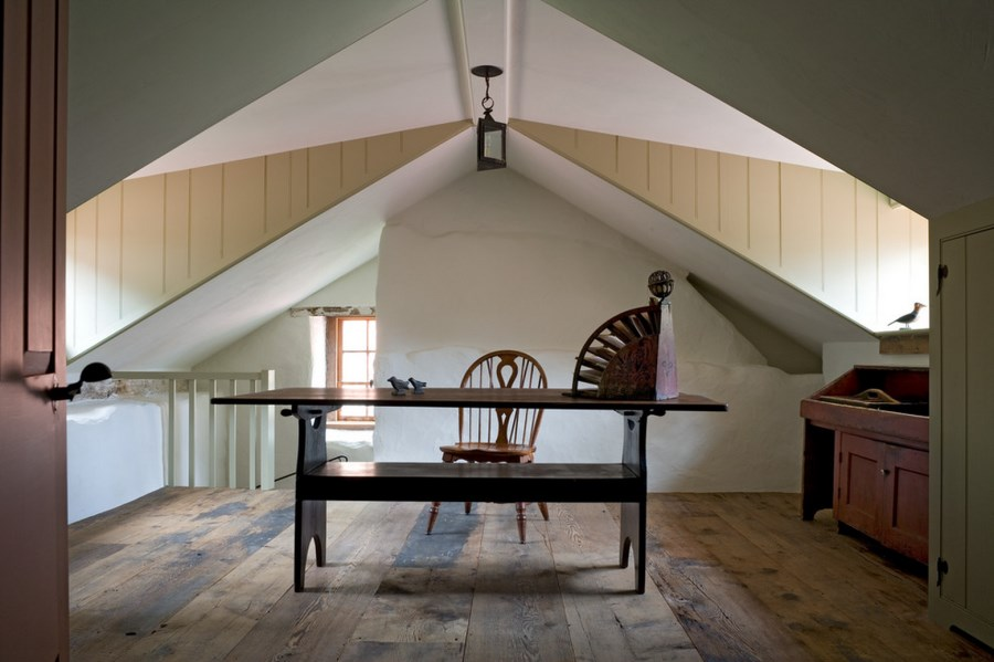 Trestle table desk in a rustic home office
