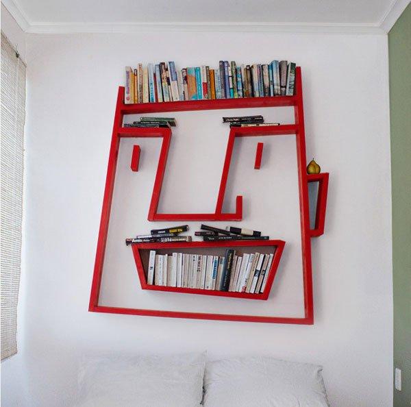 bookshelves face