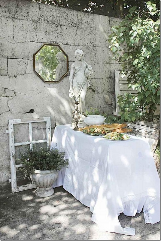 Outdoor dining area in the garden