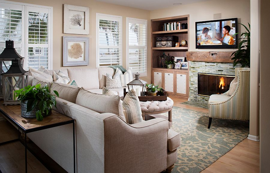Beach style living room with a relaxing ambiance [Design: Style on a Shoestring]