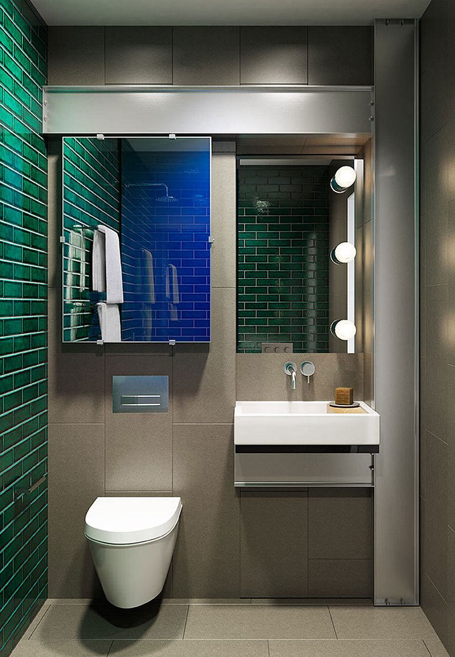 Beautiful green and blue make their way into the modern bathroom