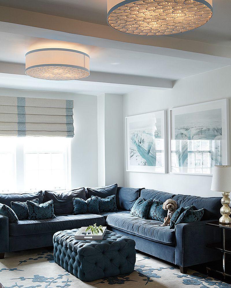 Custom-made ottoman for the contemporary living room [Design: Carolyn Rebuffel Designs]