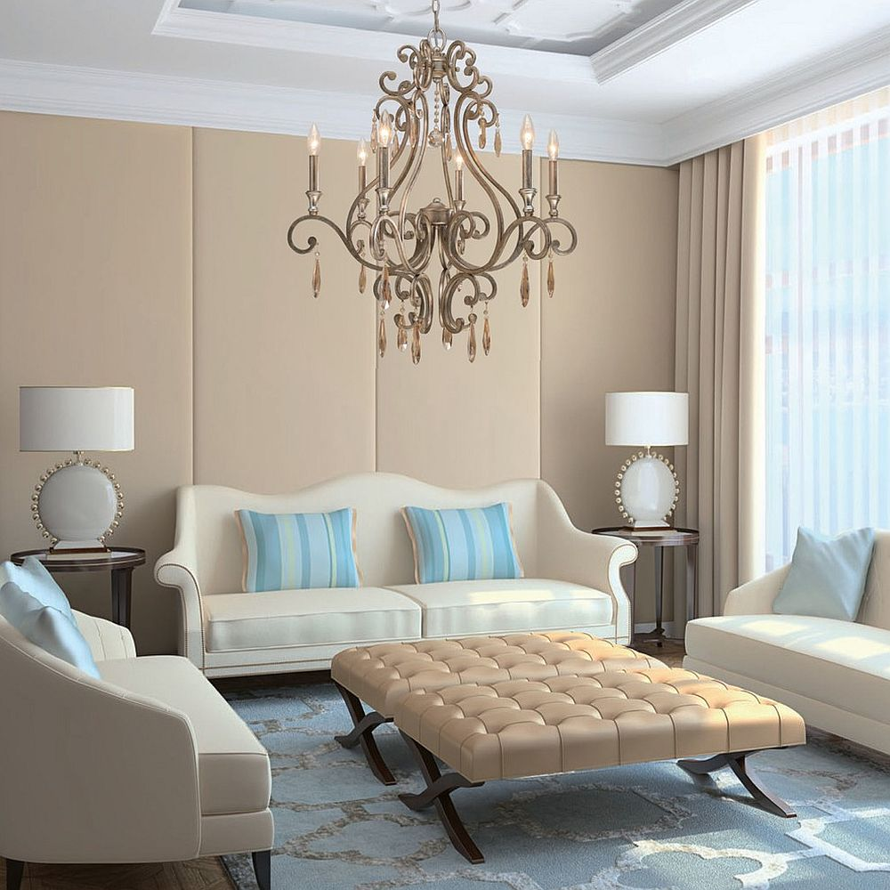 Elegant twin tufted ottomans serve as coffee table in this modern living space [From: Northwest Lighting and Accents]