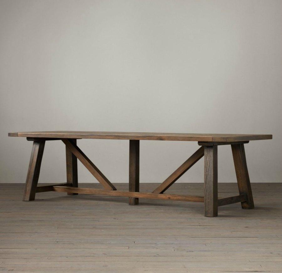 Oak trestle dining table from Restoration Hardware