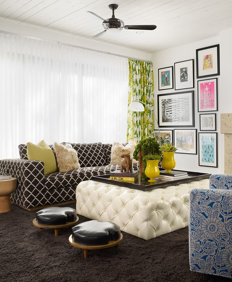 Pops of yellow enliven he gorgeous living room with plush textures [Design: Pal + Smith]