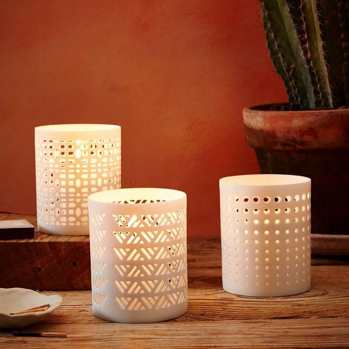 Porcelain tealights from West Elm