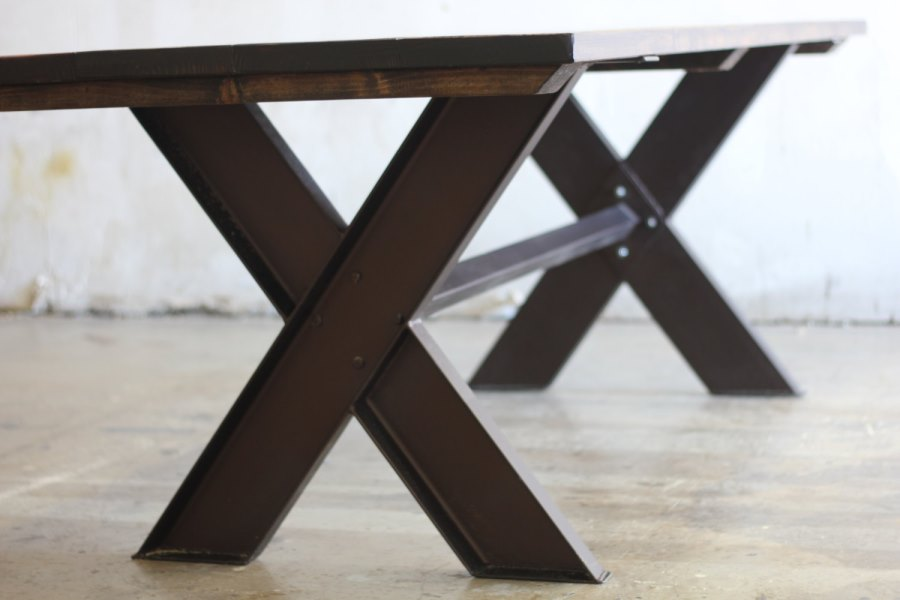 Steel and wood trestle table from Etsy shop James + James