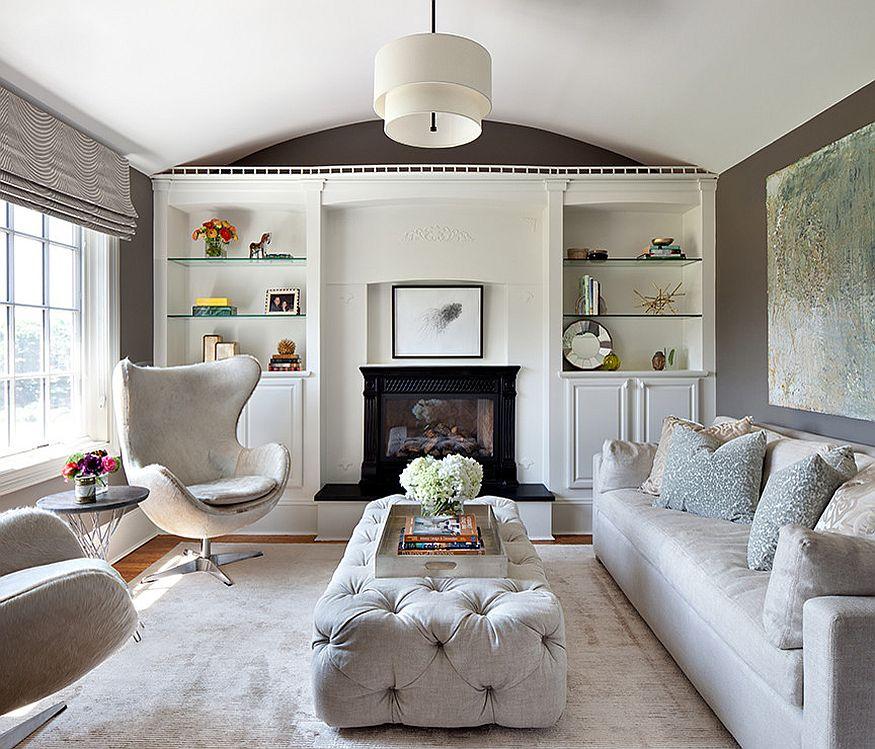 Transitional bedroom with a cozy conversation nook [Design: Clean Design]