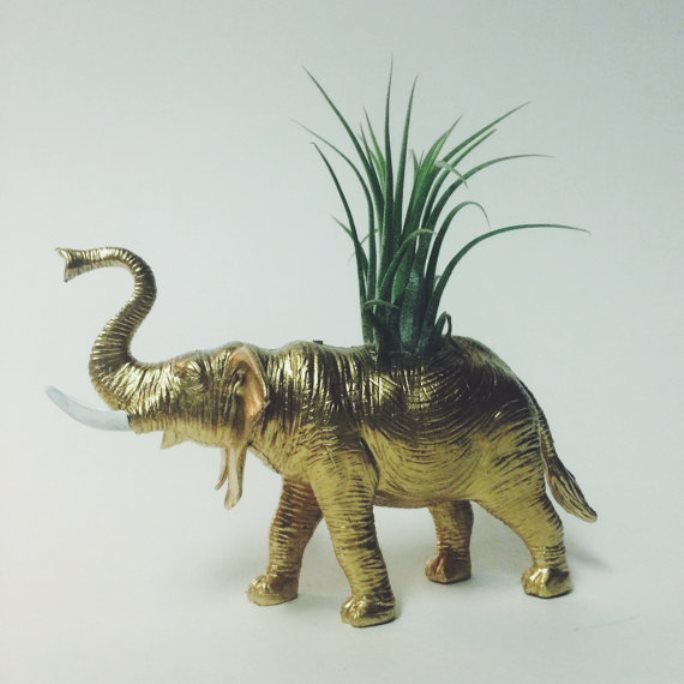 Gold elephant planter