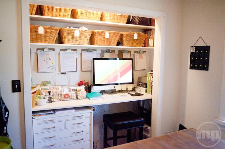 Baskets help keep the workspace organized