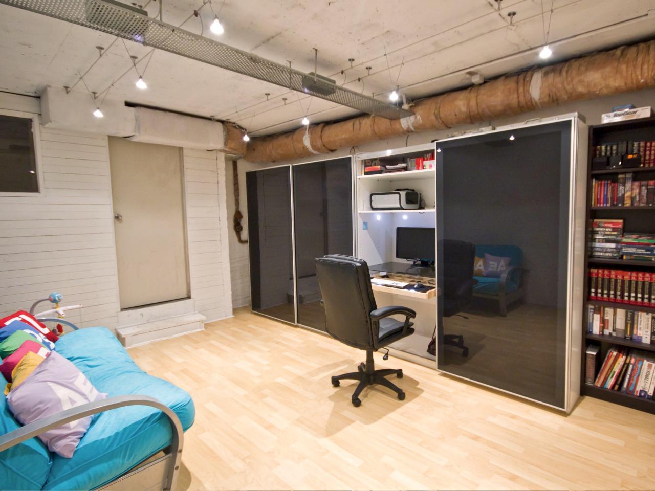 Trendy modern closet office space