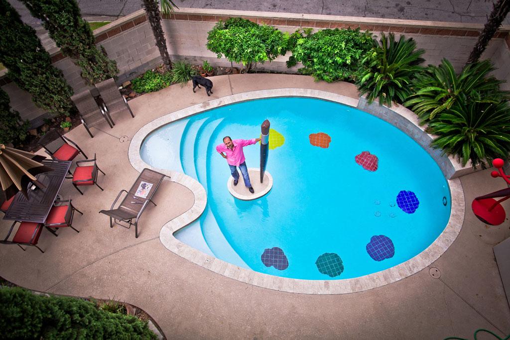 Unique pool in a painter's palette shape