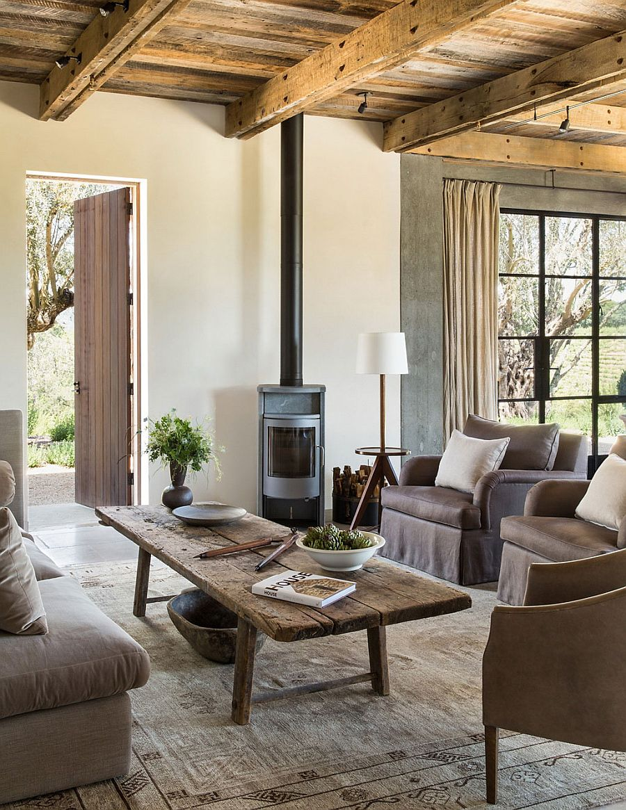 A woodstove for the living area with a muted color palette