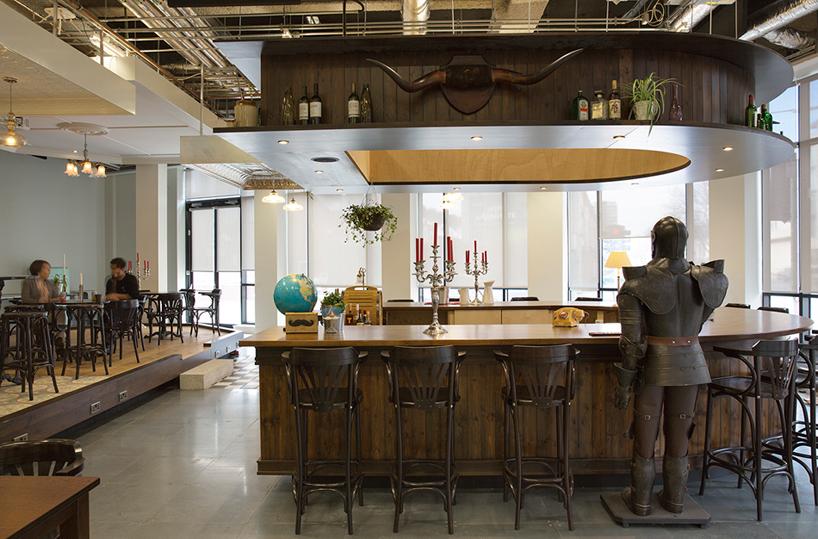 Airbnb pub-like reception area in Dublin Office