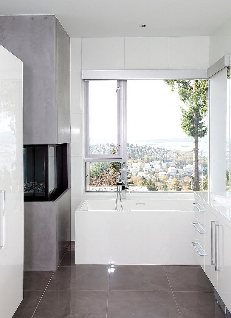 Compact contemporary bathroom with fireplace makes use of every inch of space