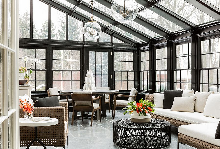 Cool conservatory that doubles as a lovely living space