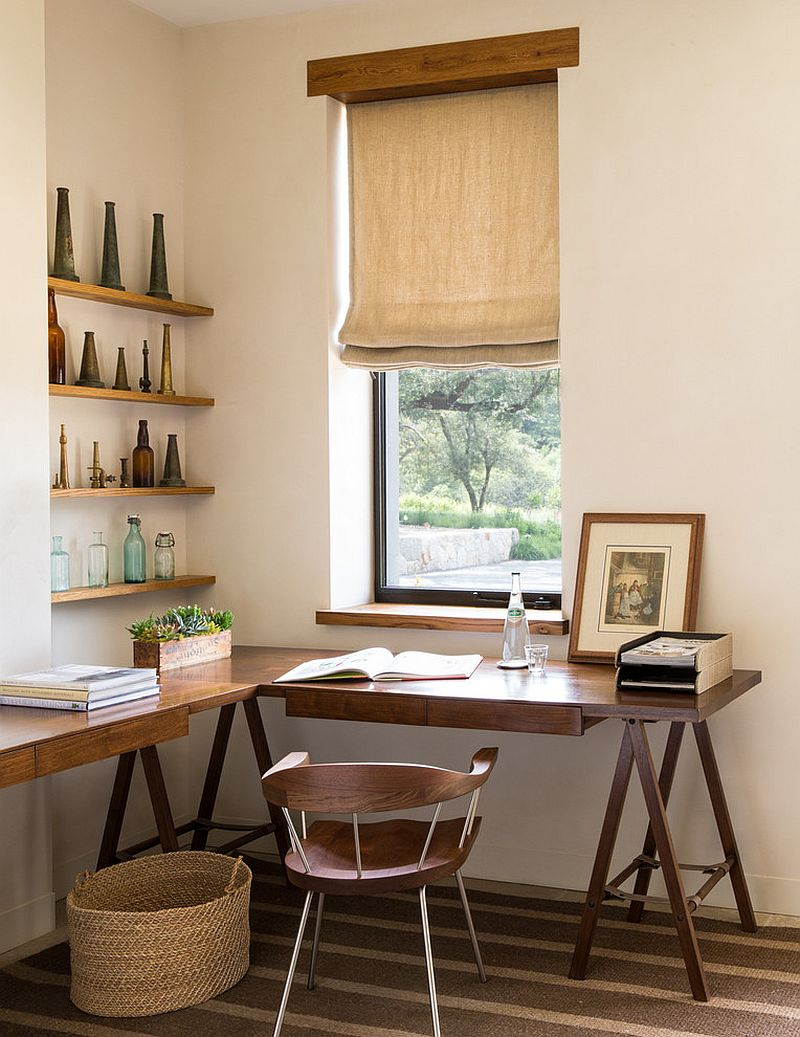 Corner home office in the farmhouse style master bedroom