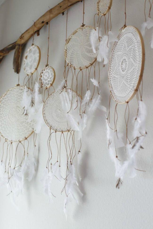 Doilies made into dreamcatchers