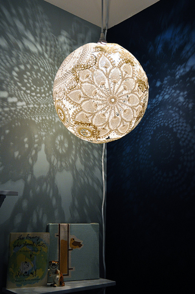 Doily lace lamp that projects designs on walls