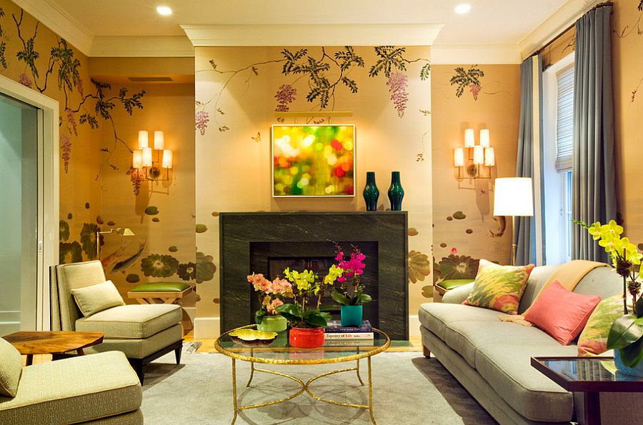 Golden glitz meets jewel-toned beauty in this living room