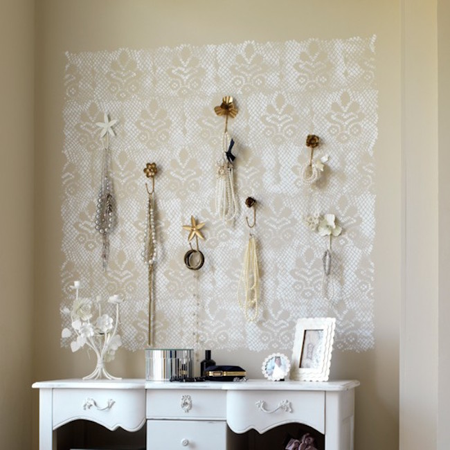 Lace sheet used to hang jewelry