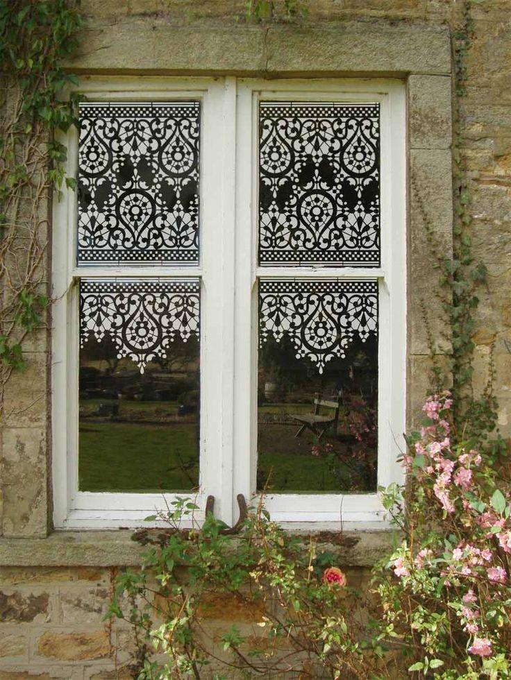 Lace stencil design on windows
