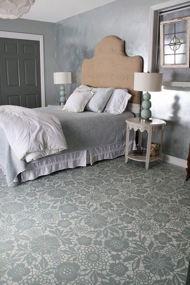 Lace stenciled floors in bedroom