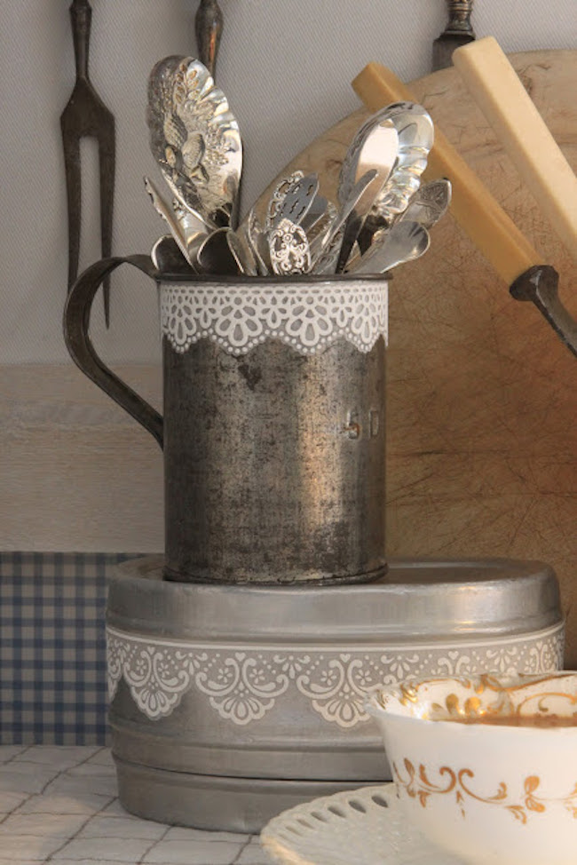 Lace tape used to dress up rustic kitchen accessories