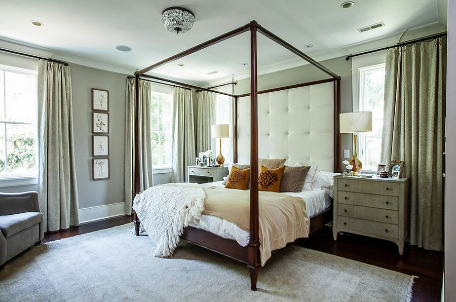 Mismatched nightstands in similar hue for the contemporary bedroom