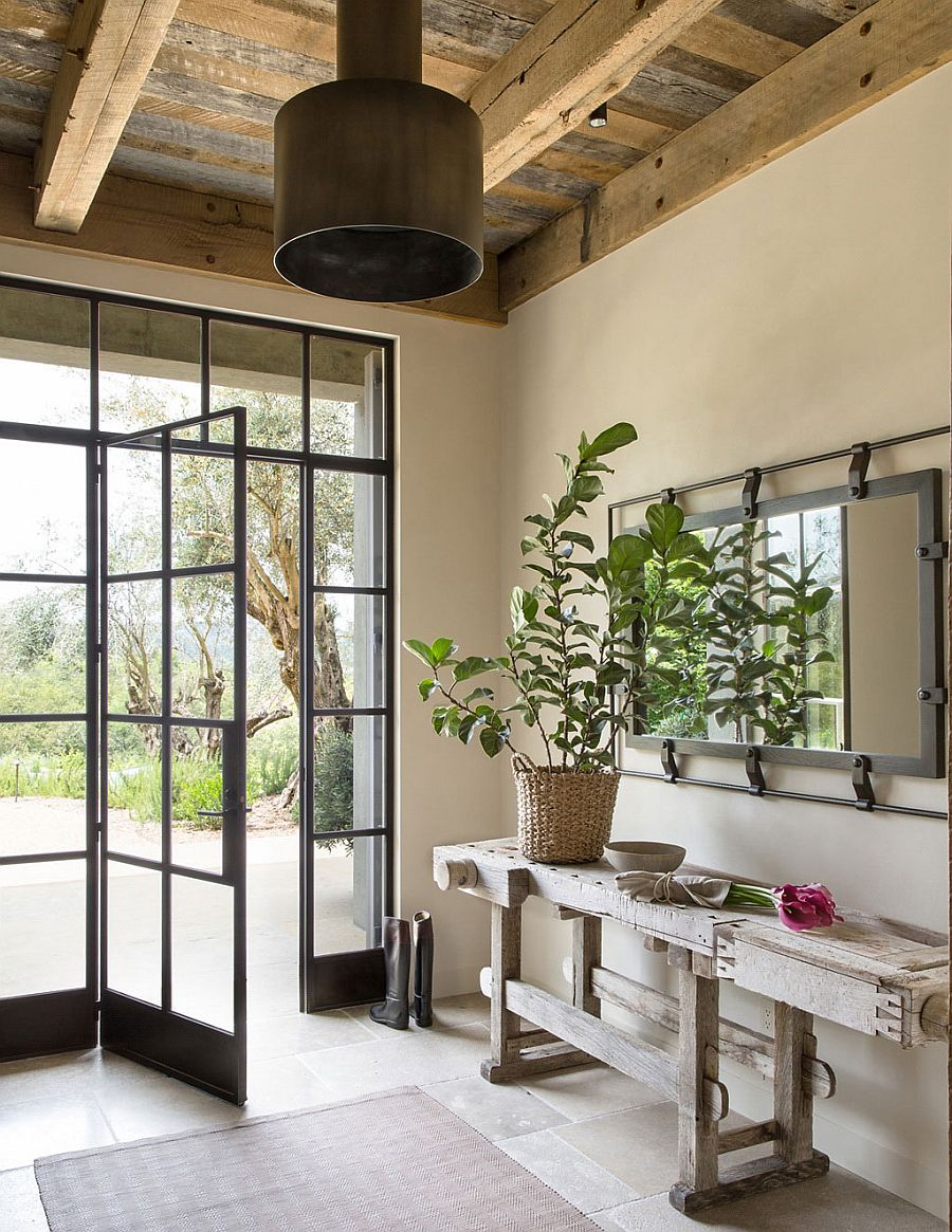Rustic refined style entrance with rustic decor and curated elegance