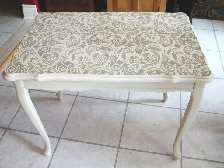 Tabletop with lace stencil design