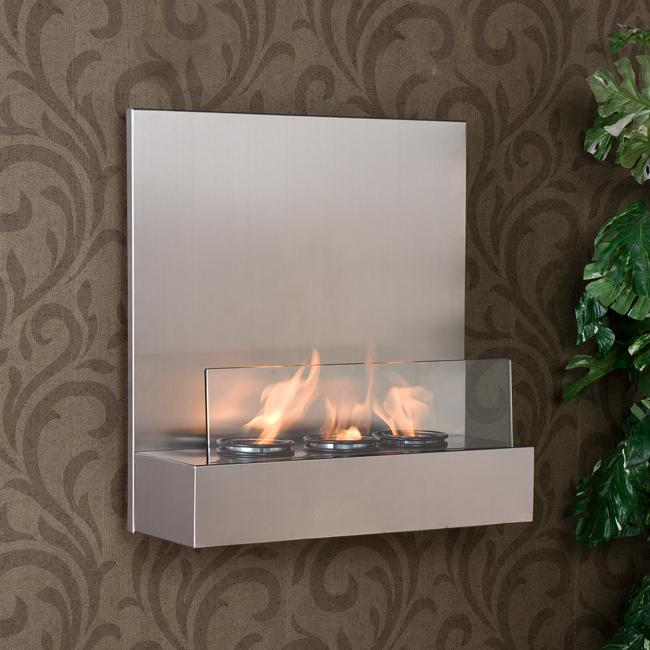 Tate Stainless Steel:Glass Wall-mount Fireplace from Overstock
