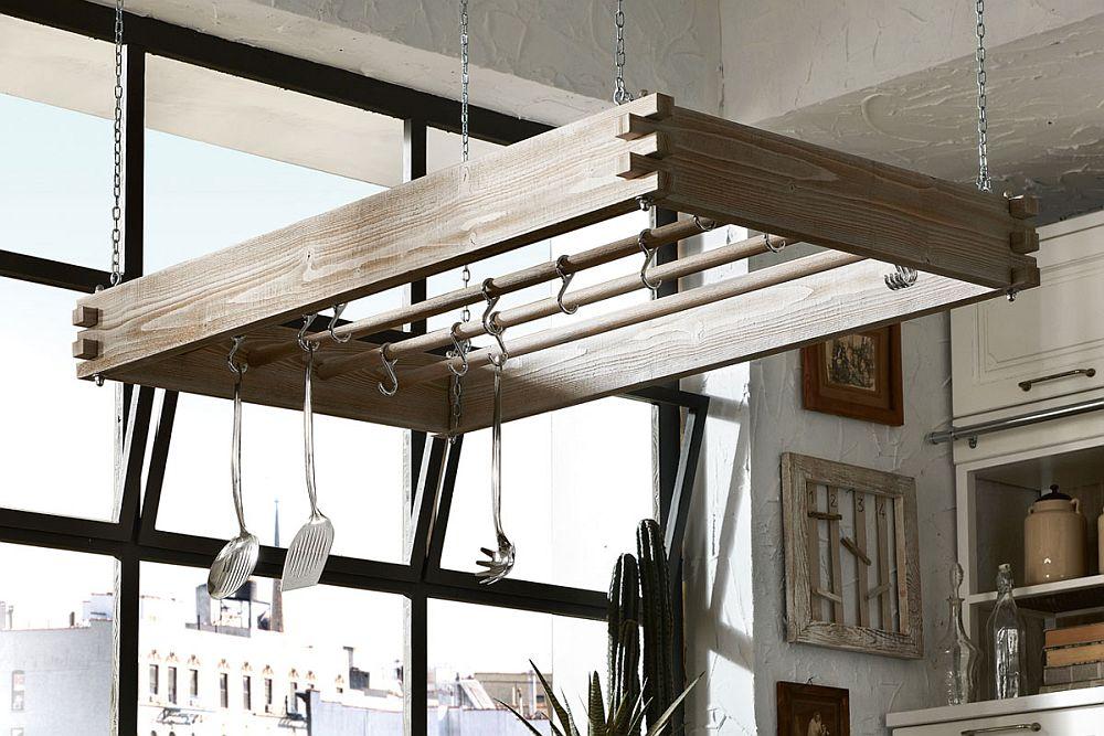 Vintage pot rack design in wood