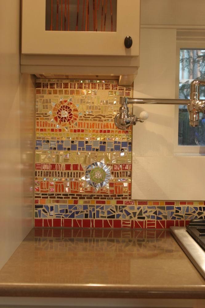 Colorful glass and ceraminc mosiac tile backsplash