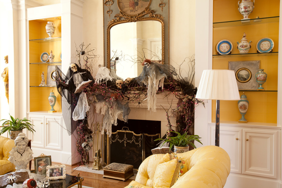 Fireplace with Halloween skulls, skeletons, and branches