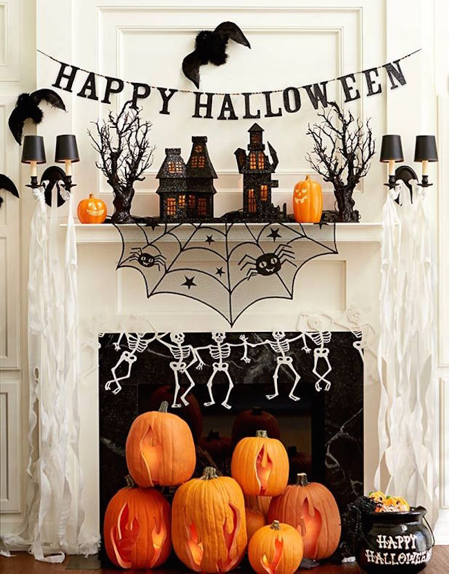 Fireplace with Jack-o-lanterns in place of logs