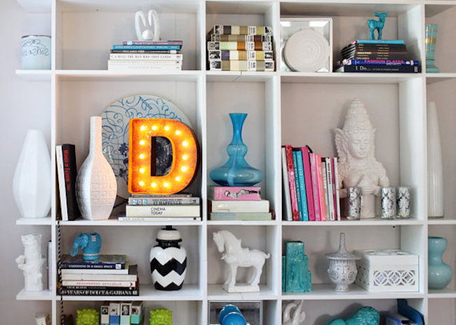 Marquee letter used on a bookshelf unit
