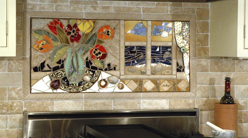 Mosaic image built into tiled backsplash