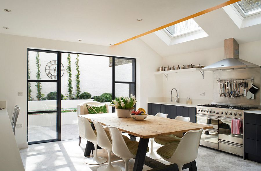 Skylights for the modern eclectic kitchen in white and gray