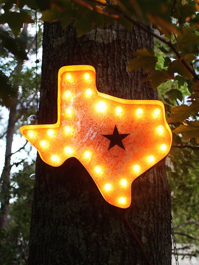 Texas marquee sign hung outside on a tree
