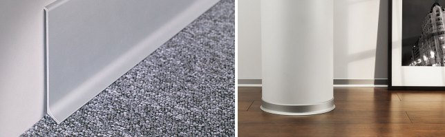 Straight and curved aluminum baseboards