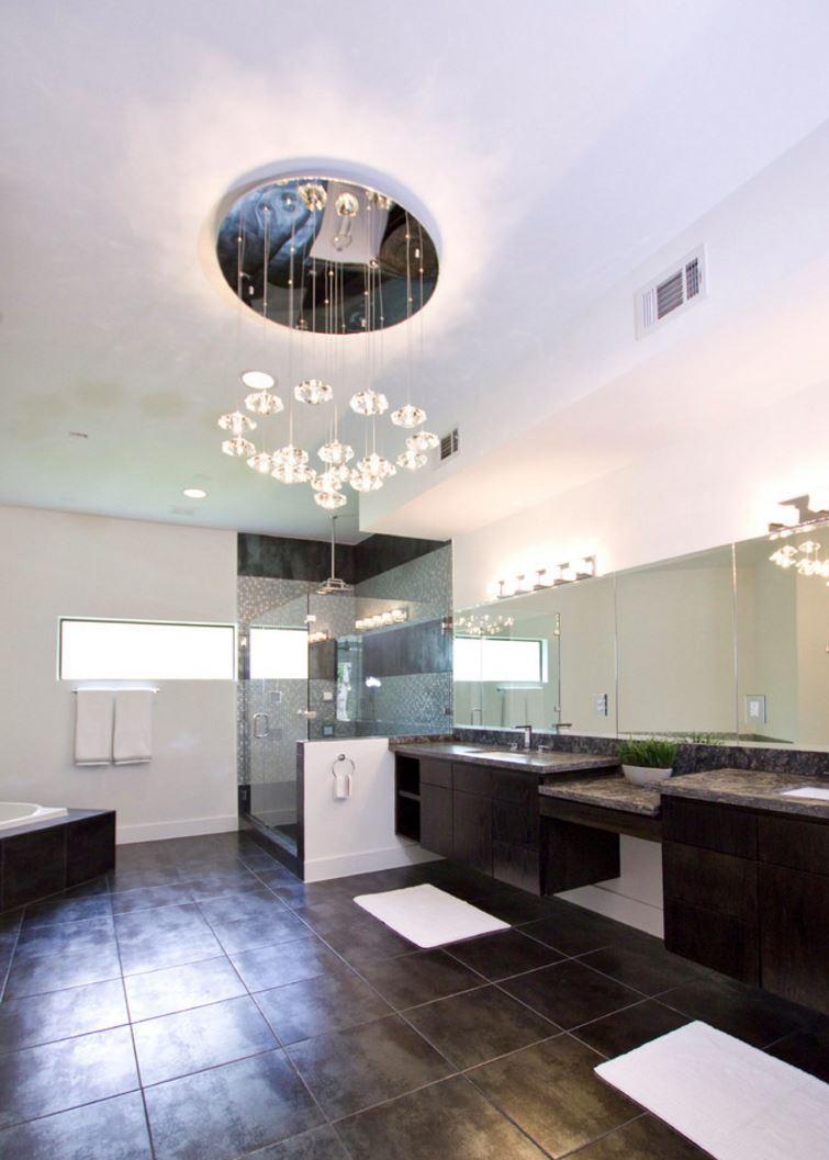 Bathroom flooring with a metallic glaze