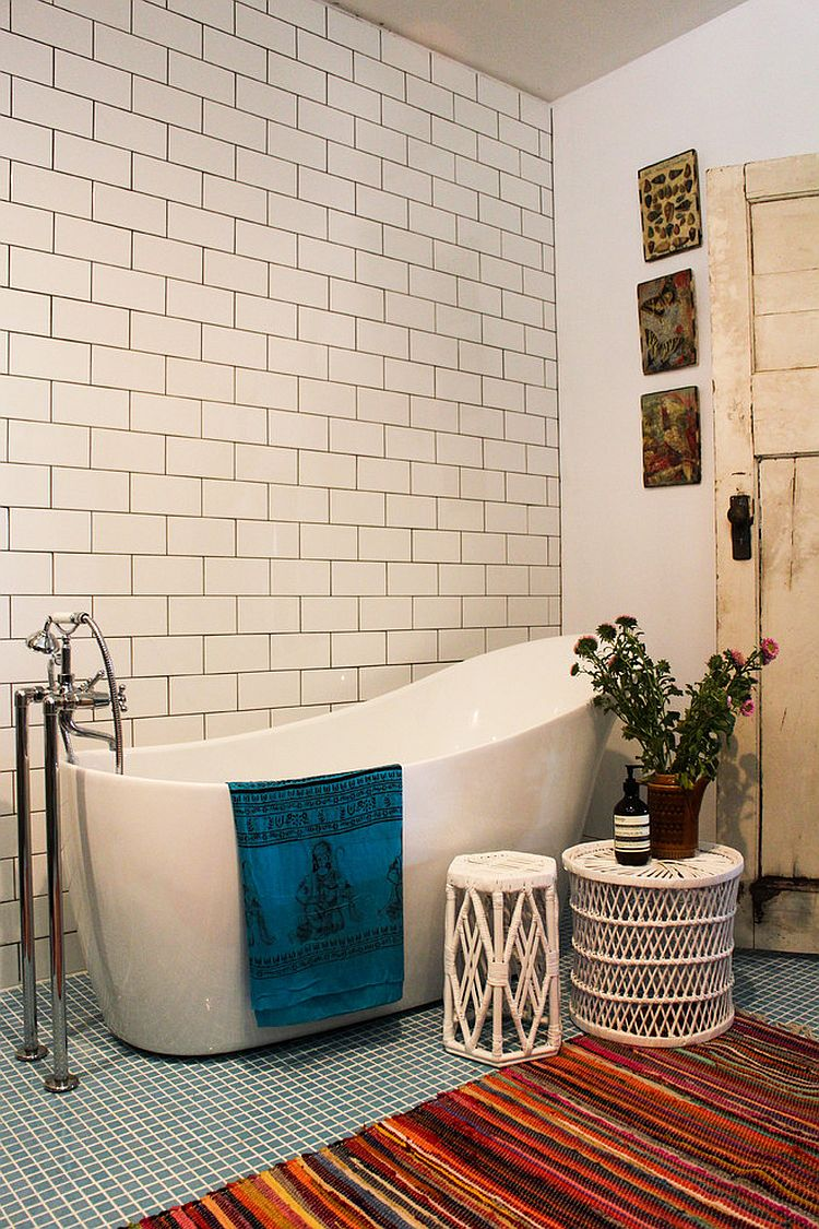 Beautiful bohemian touches bring warmth to the eclectic bathroom