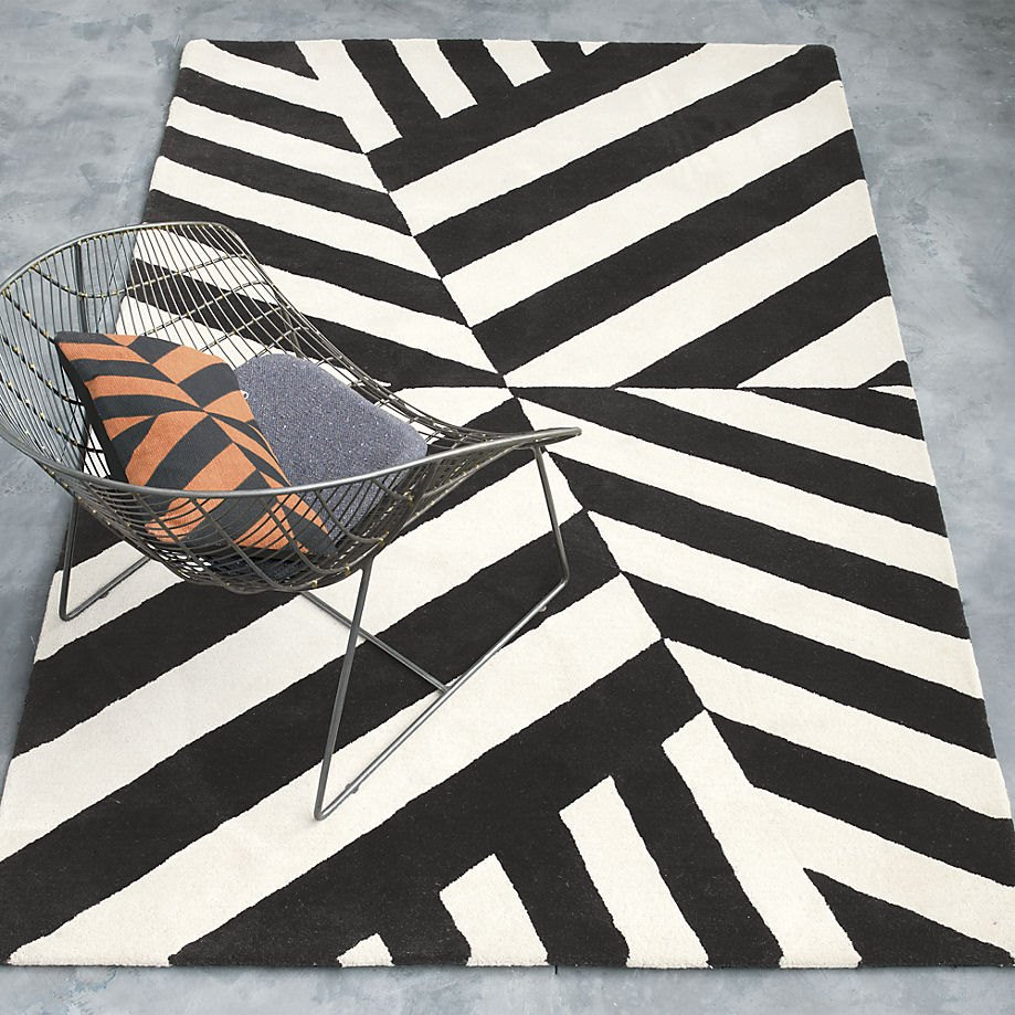 Black and white rug from the Kravitz Collection and CB2