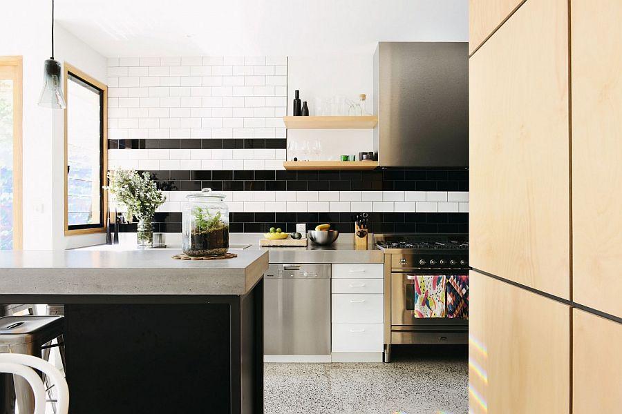 Black and white tiled backsplash for the contemporary kitchen