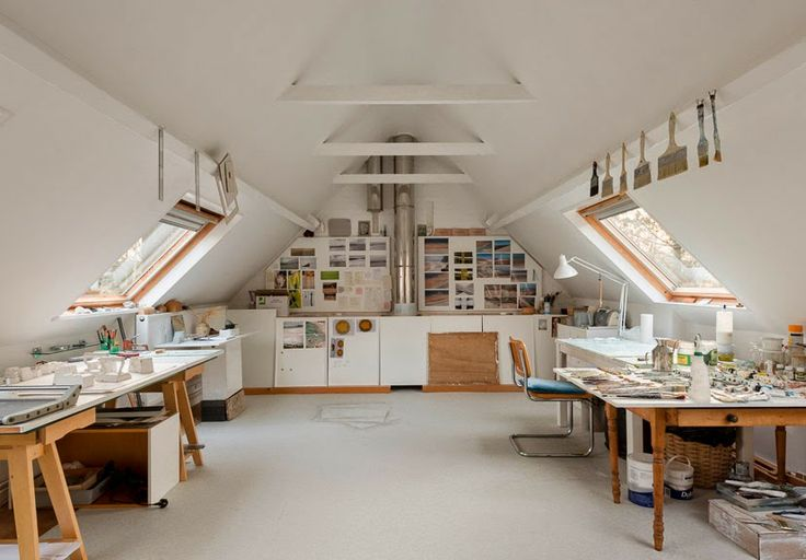 Bright and spacious attic converted to an art studio