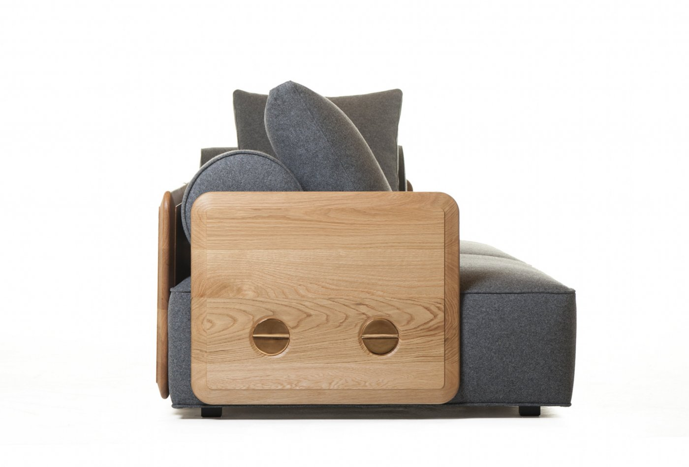 Deco Sofa detail in Danish oiled oak and wool