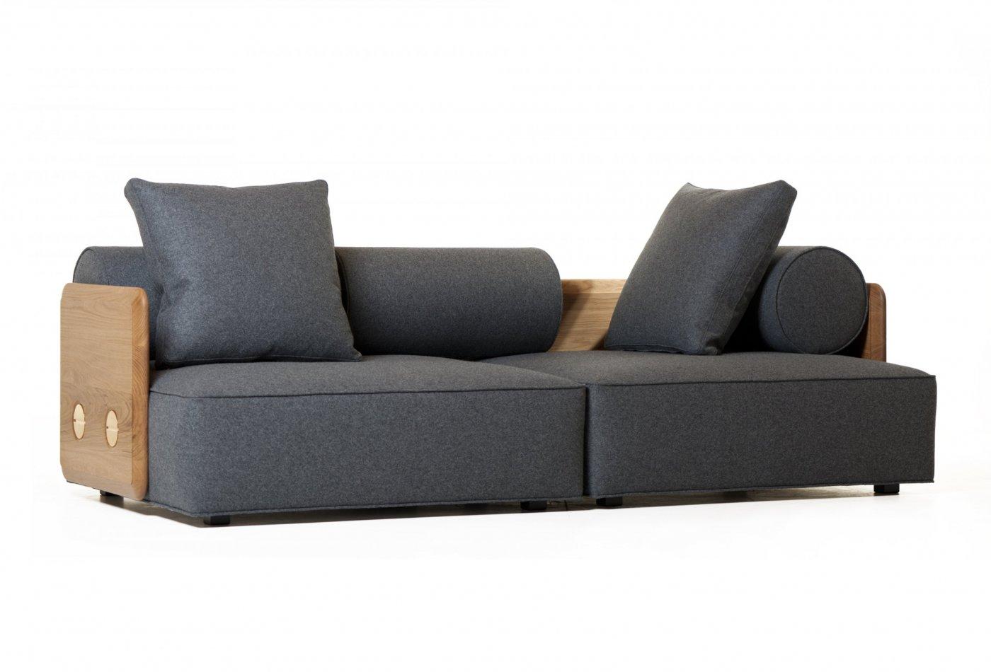 Deco Sofa profile in Danish oiled oak and wool