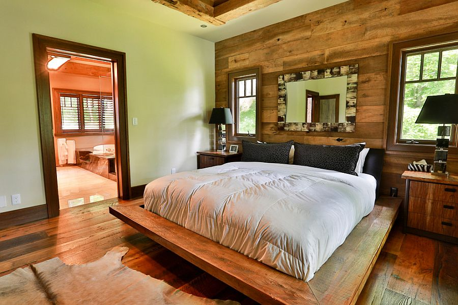 Design of the bed adds to the unique style of the tranquil bedroom